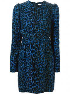 Victoria Beckham leopard print textured silk dress