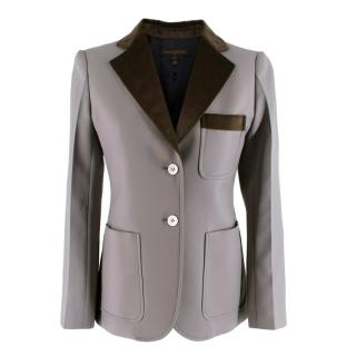 Louis Vuitton Grey Tailored Jacket with Velvet Trim