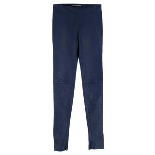 Balenciaga Blue Coated Lambskin Trousers