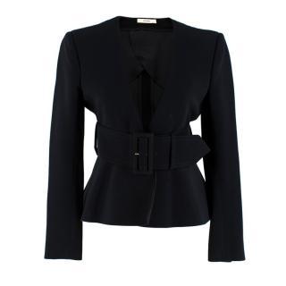Celine Black Tailored Peplum Belted Jacket