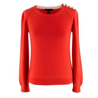 Louis Vuitton Coral Cashmere Blend Long-Sleeve Buttoned Jumper