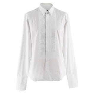 Gucci White Cotton Tailored Slim Fit Tuxedo Shirt