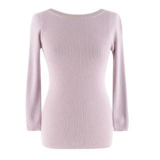 Christian Dior Cashmere & Silk Pink Lurex Knit Top