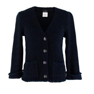Chanel Blue Tweed Ruffled Button Down Cardigan