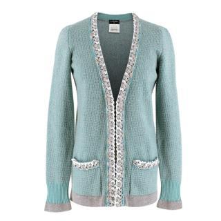 Chanel Soft Cashmere Knit Chain Trim Cardigan