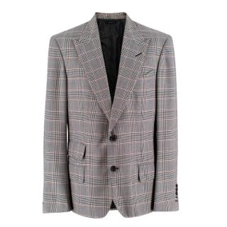 Tom Ford Grey Plaid Single Breasted Blazer