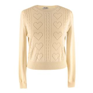 Miu Miu Yellow Virgin Wool Heart Motif Jumper