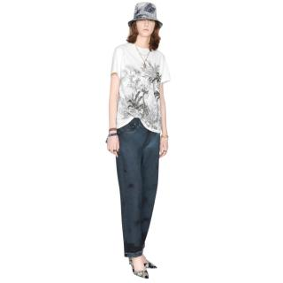 Dior White Cotton & Linen T-Shirt with Navy Blue Toile de Jouy Tropica