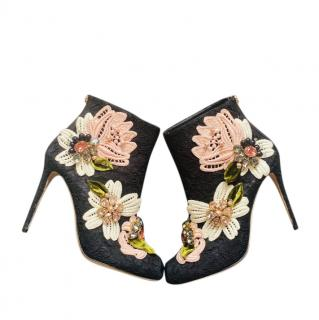 Dolce & Gabbana Applique Black Lace Crystal Ankle Boots