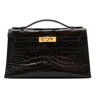 Herm�s Mini Kelly 22 Pochette Bag in Noir Alligator Mississippiensis