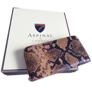 Aspinal of London Natural Python Continental Zip-Around Wallet