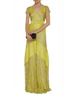 Temperley London Silk & Lace Citrine Gown