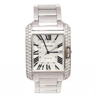Cartier Tank Anglaise XL 18k White Gold with Diamonds Wrist Watch