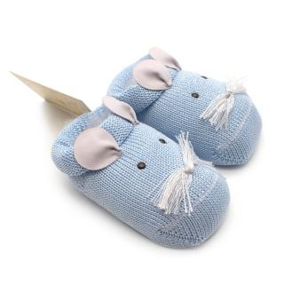 Story Loris 6M Blue Cotton Embroidered Mouse Booties