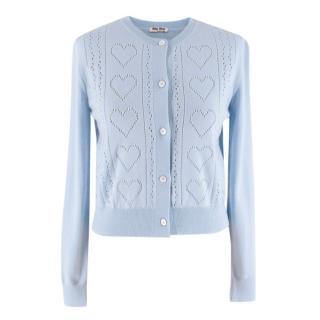 Miu Miu Light Blue Pointelle-knit Wool Cardigan
