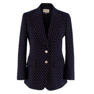 Gucci Knit Blue & Red Heart Tailored Jacket