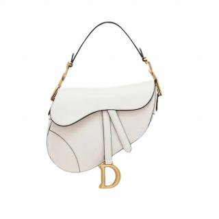 Christian Dior Saddle Bag in Latte White Grained Calfskin