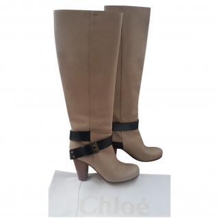 Chloe Beige Buckle Detail Knee Boots