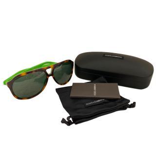 Dolce & Gabbana Tortoiseshell Pilot Sunglasses