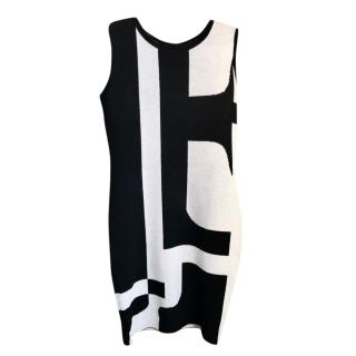 Escada Black & White Sleeveless Knit Dress