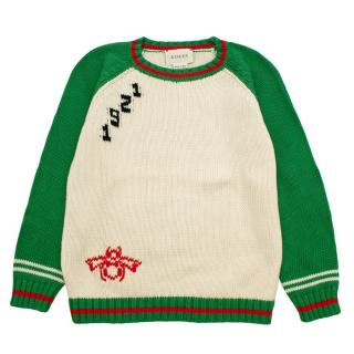 Gucci Kids Baseball Style Knit Jumper