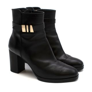 Tods Black Leather & Suede Chunky Wedge Boots