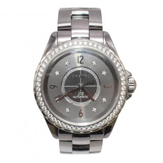 Chanel Ceramic Grey J12 Diamond 38mm Watch