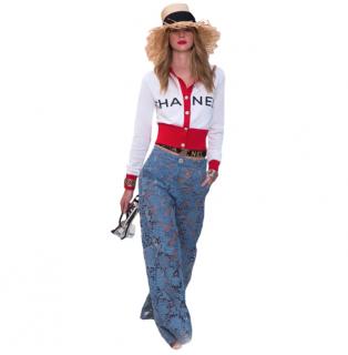 Chanel Red & White Short Logo Runway Cardigan
