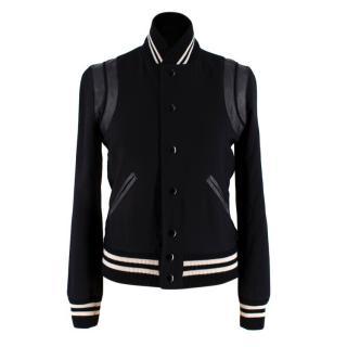 Saint Laurent Black Leather Trimmed Teddy Varsity Jacket