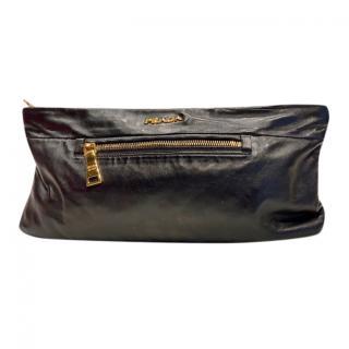 Prada Black Leather Zip Detail Clutch