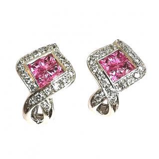 Bespoke 18ct White Gold Pink Sapphire & Diamond Earrings