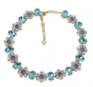 Dolce & Gabbana Blue Crystal Embellished Necklace