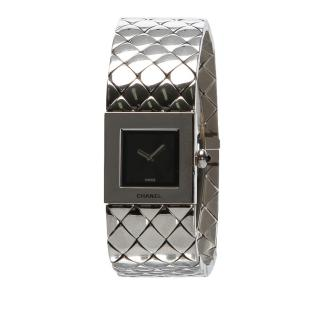 Chanel Quilted Mademoiselle Silver Tone Watch