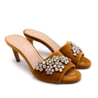 Dior Gold Velvet Crystal Embellished Kitten Heel Mules