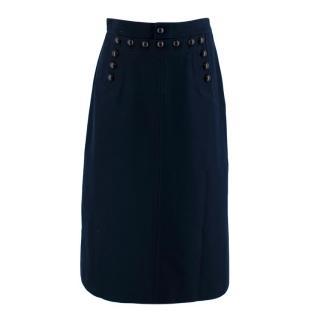 Dior Blue Button Detail A-Line Skirt