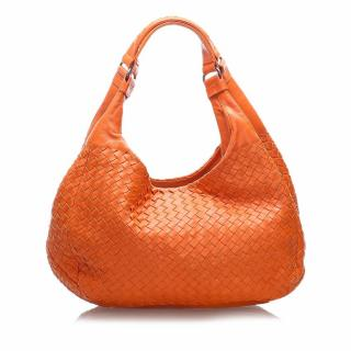 Bottega Veneta Orange Intrecciato Leather Hobo Bag