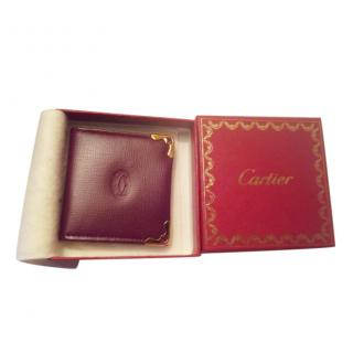 Cartier Burgundy Leather Travel Photo Frame in Box