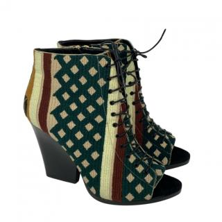 Burberry Prorsum Virginia peep toe tapestry lace-up boots