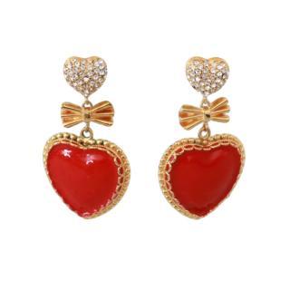 Dolce & Gabbana Crystal Heart Drop Clip-On Earrings
