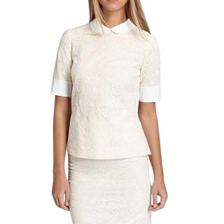 Tory Burch Ivory Embroidered Lace Aurelia Top