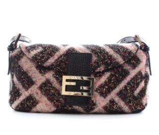 Fendi Pink & Black Sequin Limited Edition FF Baguette