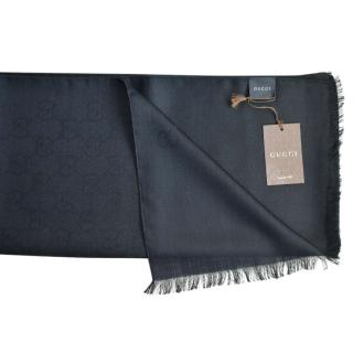 Gucci Black Wool & Silk Monogram Scarf