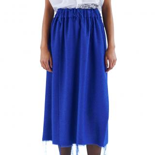 Celine by Phoebe Philo Blue Boucle Distressed Skirt