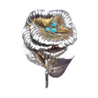 Christian Dior Vintage Gold Plated Rose Brooch