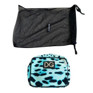 Dolce & Gabbana Blue Leopard Print Cosmetic Bag