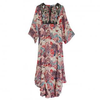 Vilshenko Floral Print Velvet Embroidered Dress