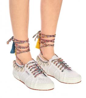 Alanui X Superga White Cotton Canvas Ankle-Tie Trainers