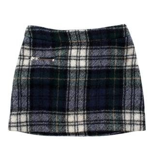 Bonpoint Blue Plaid Wool A-Line Kids Skirt