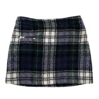 Bonpoint Blue Plaid Wool A-Line Kids Skirt