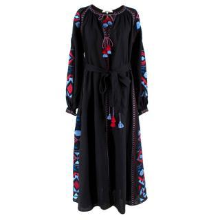 March 11 Black Linen Embroidered Tie-Waist Maxi Dress